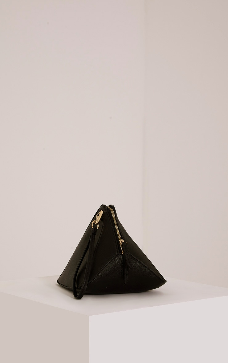 Mani Black Faux Leather Pyramid Clutch Bag 1