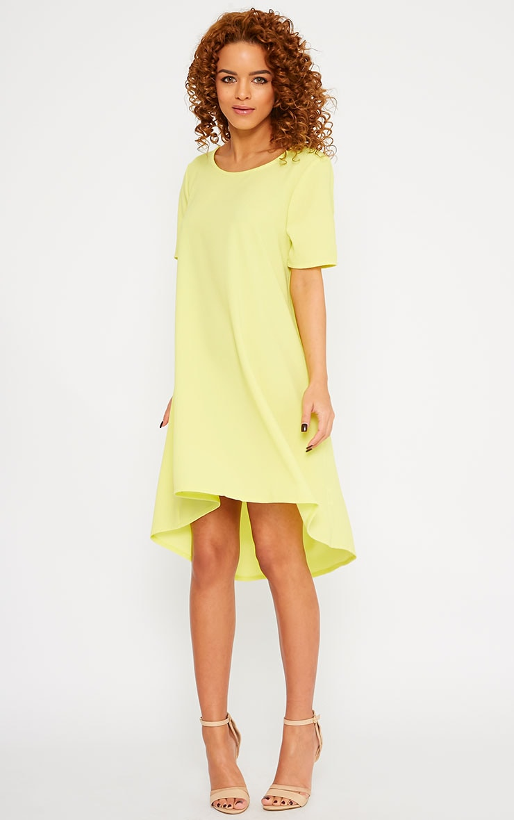 Naina Yellow Crepe Step Hem Loose Fit Shift Dress 1
