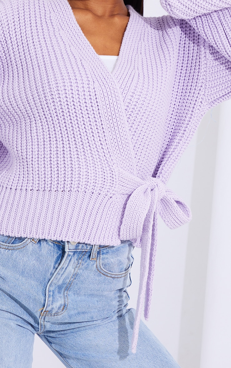 Lilac Chunky Tie Waist Belted Cardigan 4