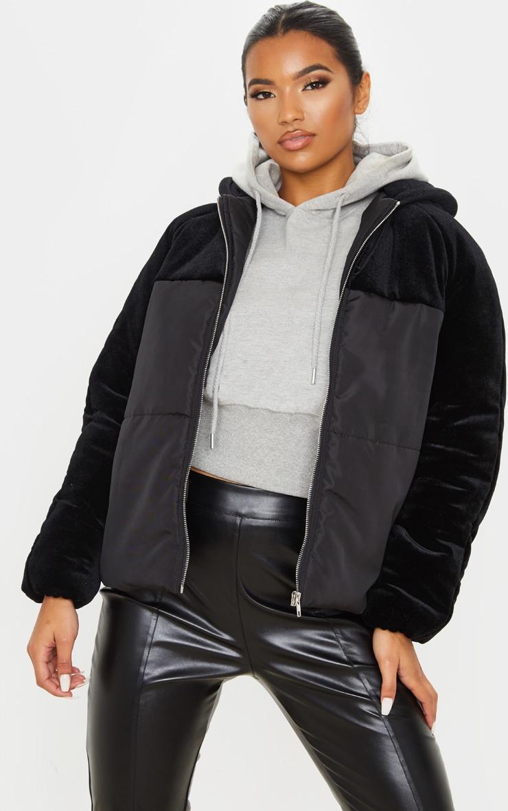 black-velvet-contrast-puffer-coat by prettylittlething