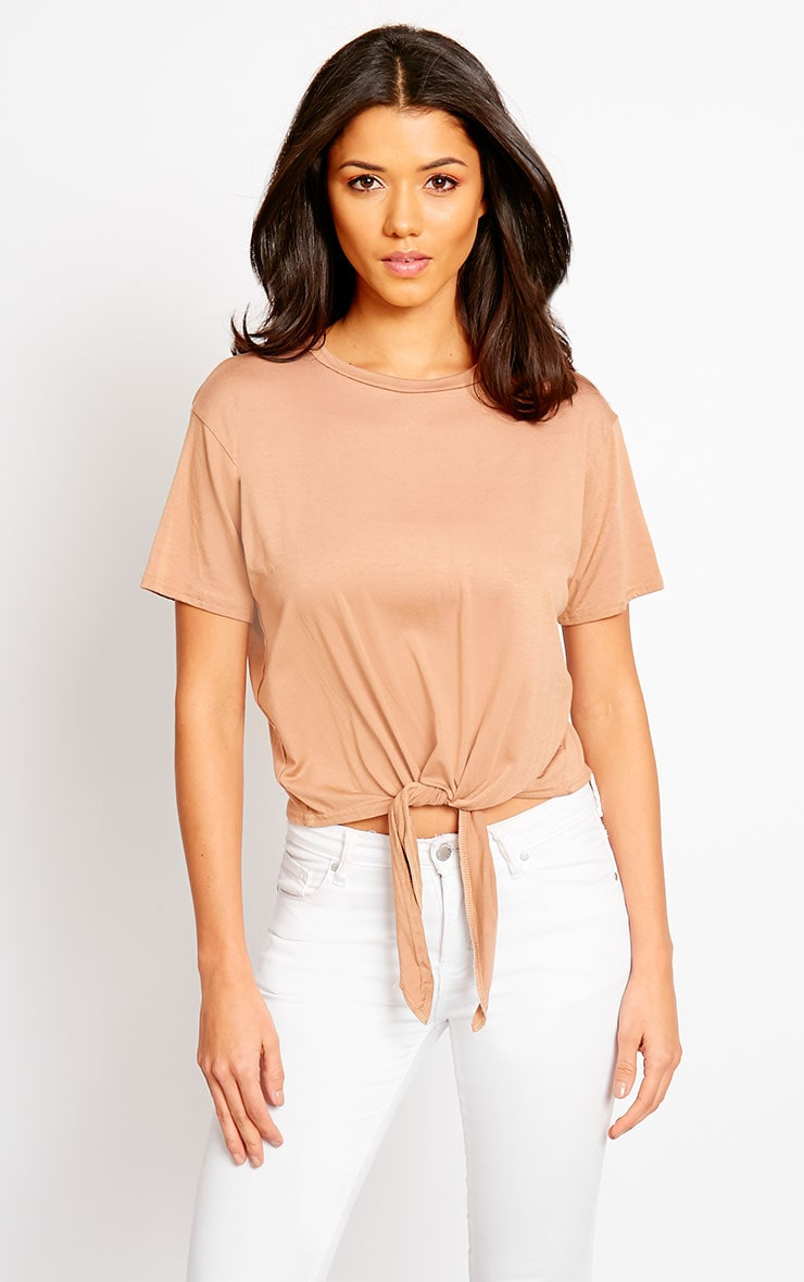 April Camel Tie Front Crop Tee 5