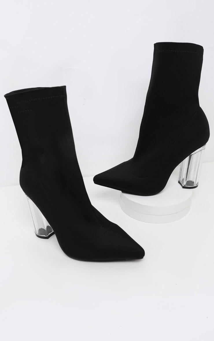 Black Clear High Heel Sock Boot 3