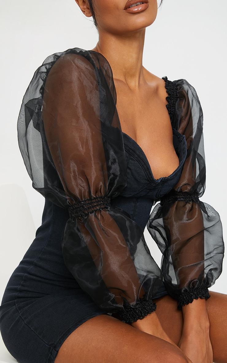 Black Organza Sleeve Denim Dress 4