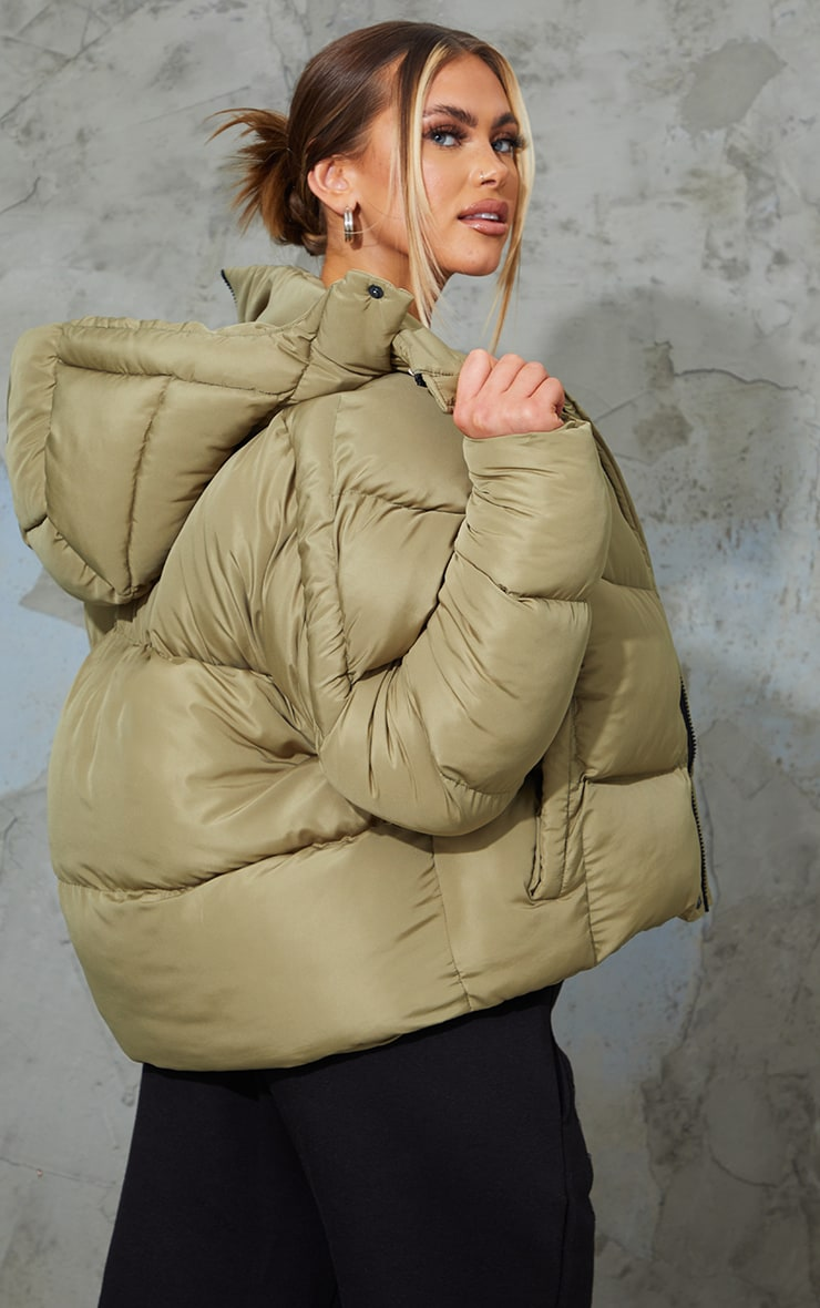 Khaki Nylon Oversized Curved Panel Wadded Puffer Jacket 2