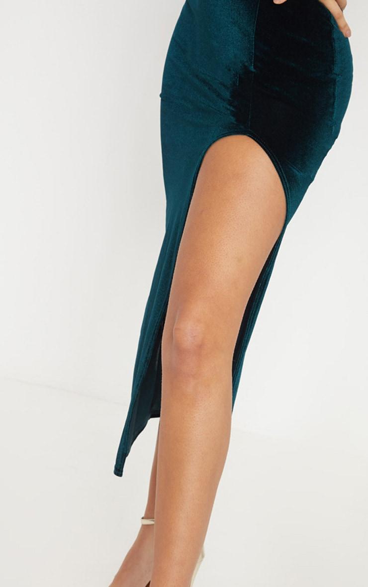 Emerald Green Velvet Square Neck Split Leg Midi Dress 5