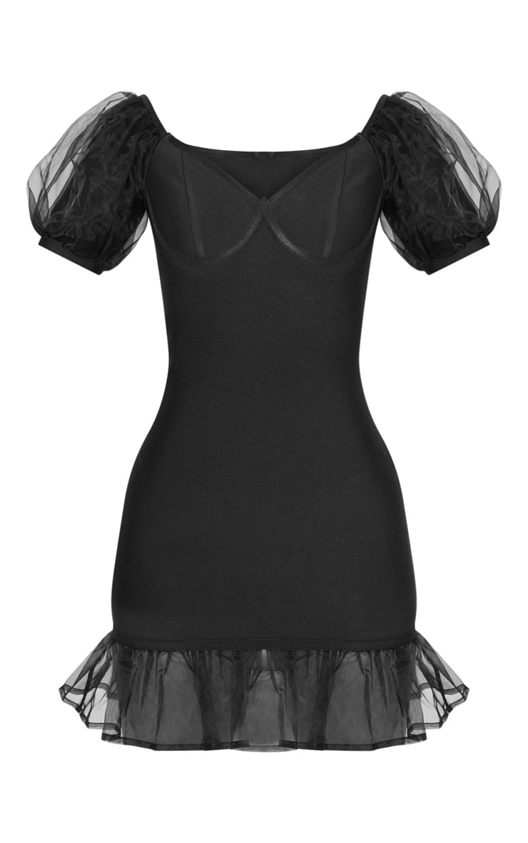Petite Black Bandage Chiffon Frill Puff Sleeve Bodycon Dress  3