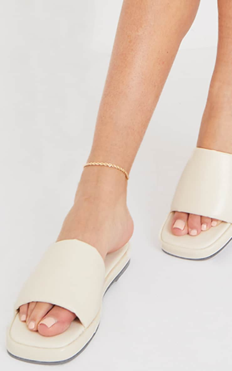 Cream PU Square Toe Mule Flat Sandals 2