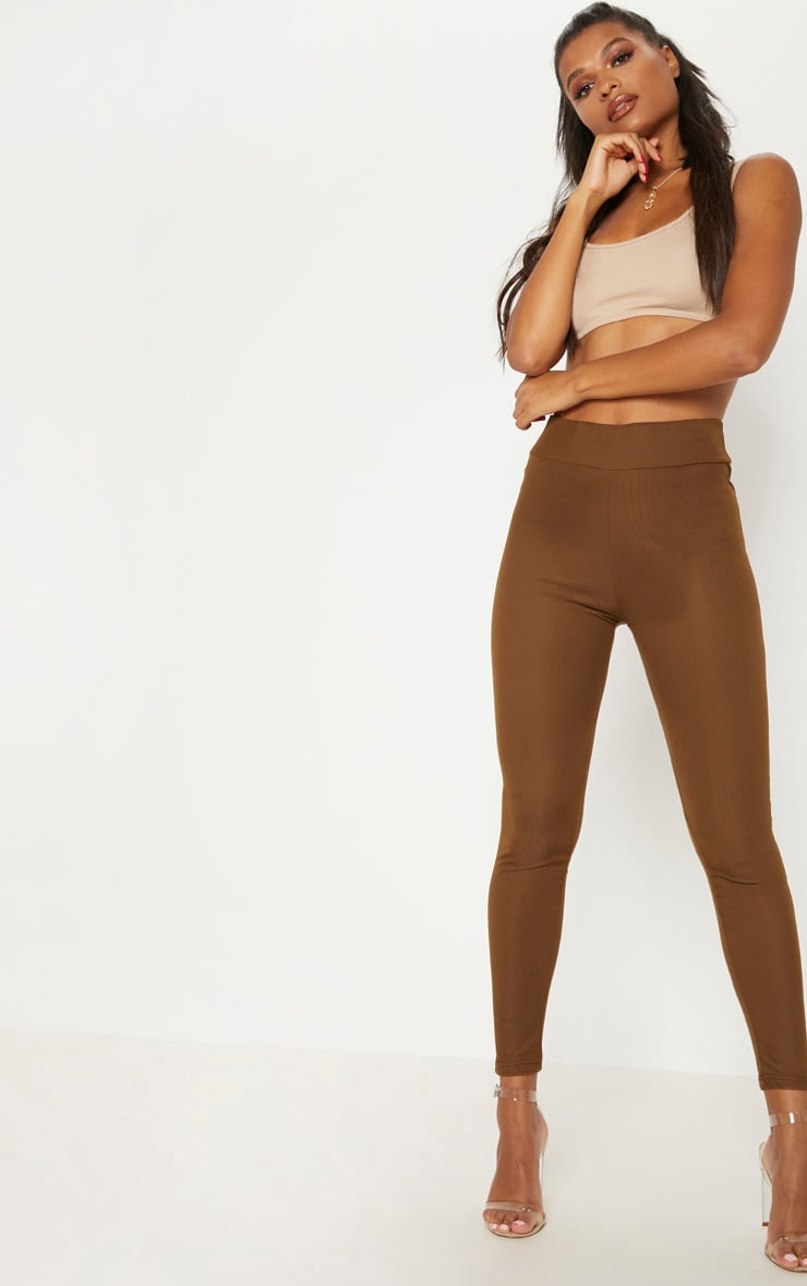 Brown Mesh Overlay Slinky Legging