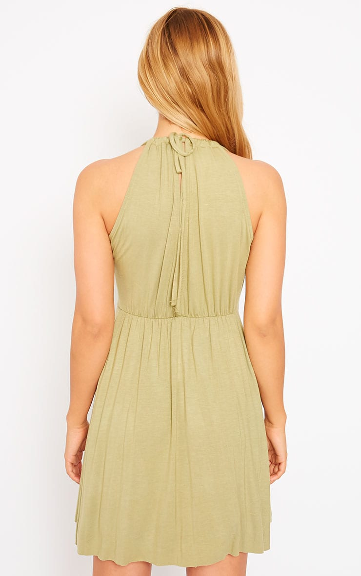 Aria Khaki Plunge Jersey Dress 2