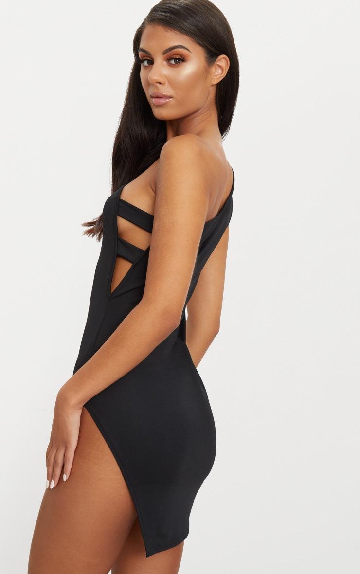 Black One Shoulder Strap Detail Extreme Split Bodycon Dress 2