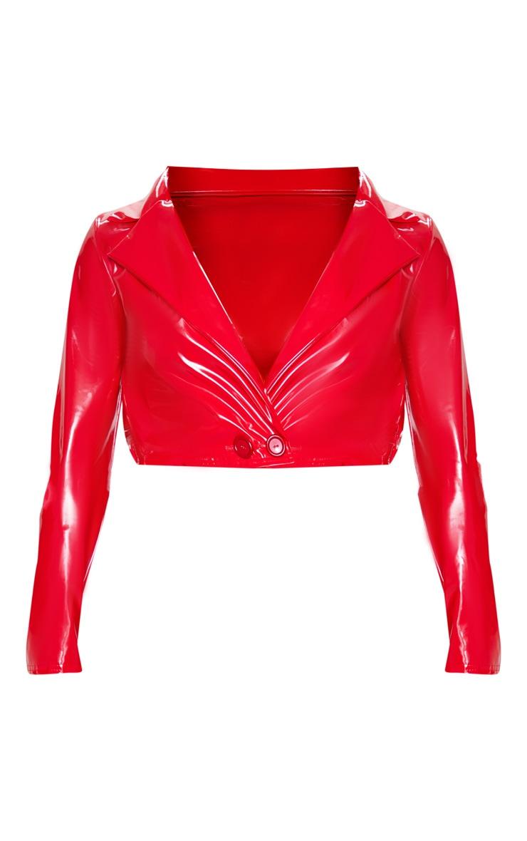 Red Vinyl Crop Long Sleeve Jacket 3