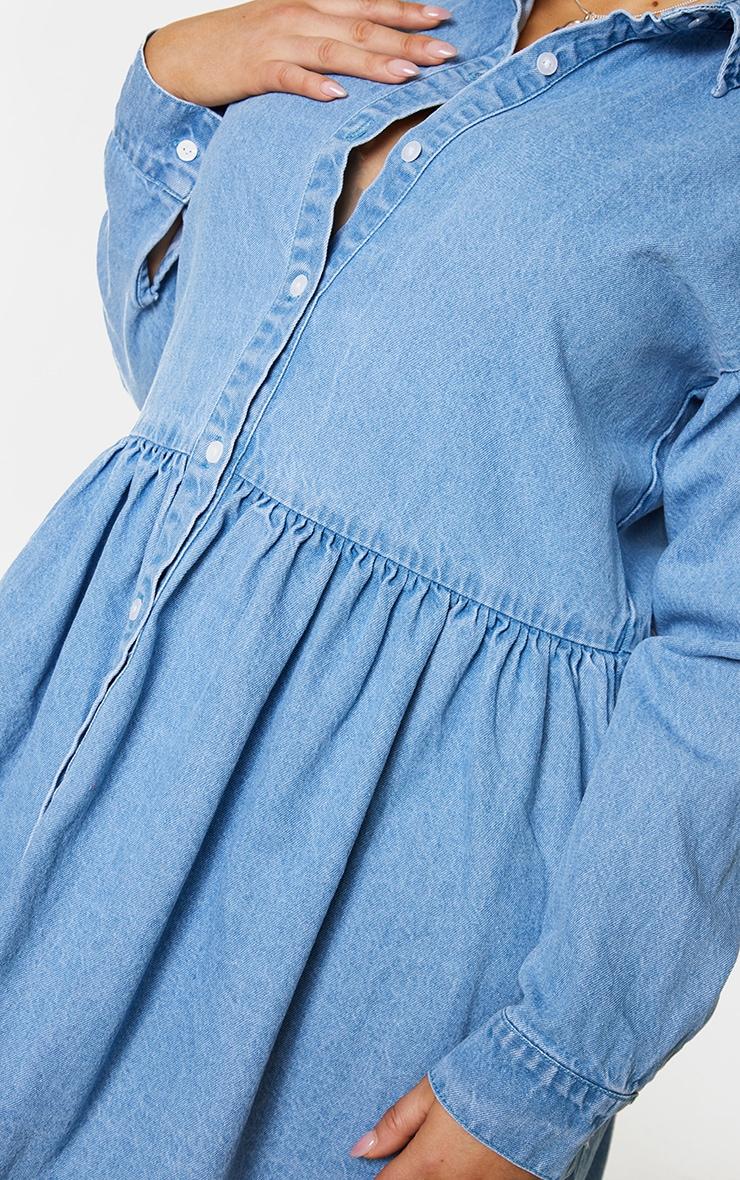 Plus Light Blue Wash Denim Frill Hem Shift Dress 4