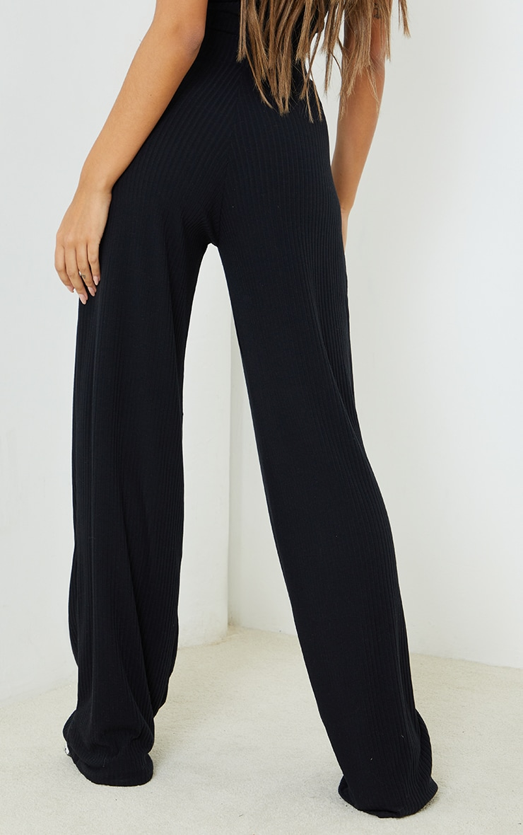 PRETTYLITTLETHING Black Badge Detail Rib Wide Leg Trousers 3