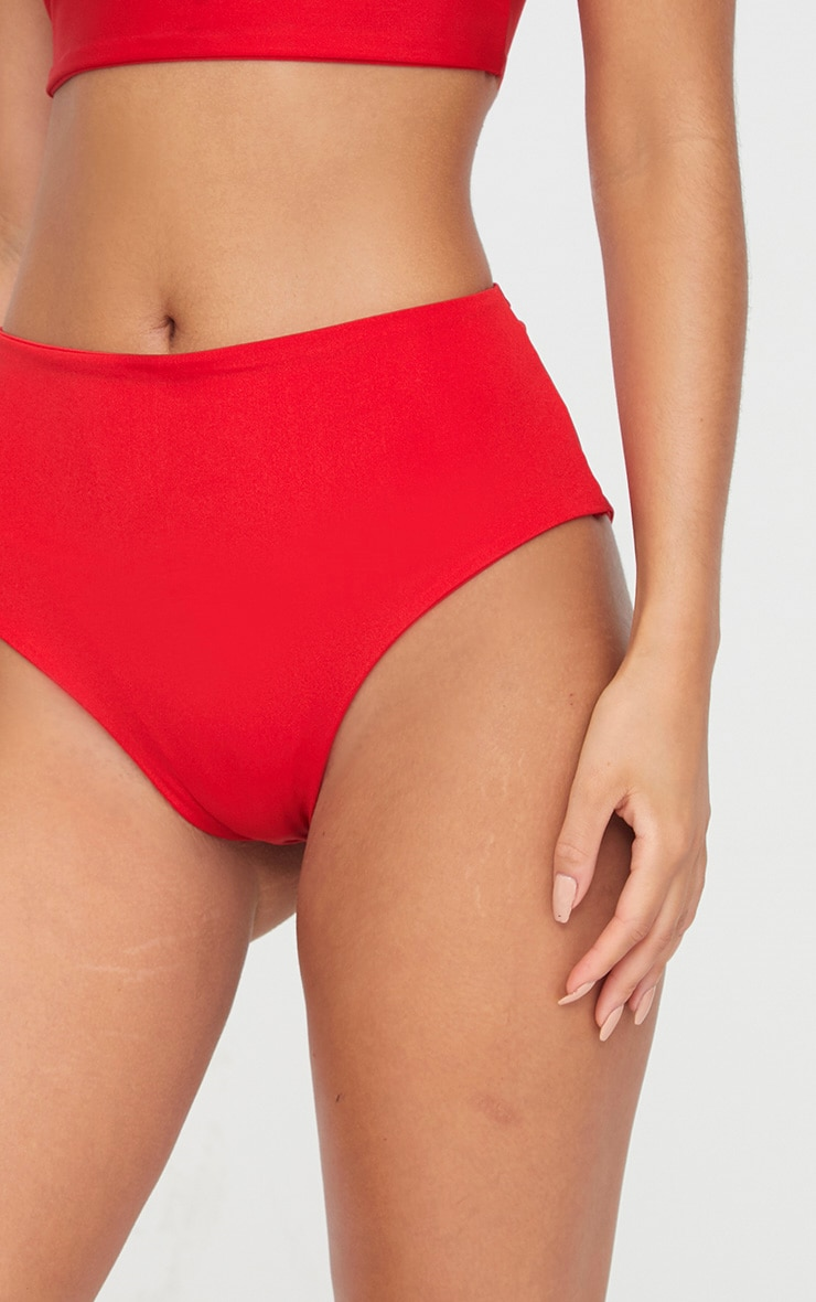 Red Mix & Match High Waisted Bikini Bottom 6