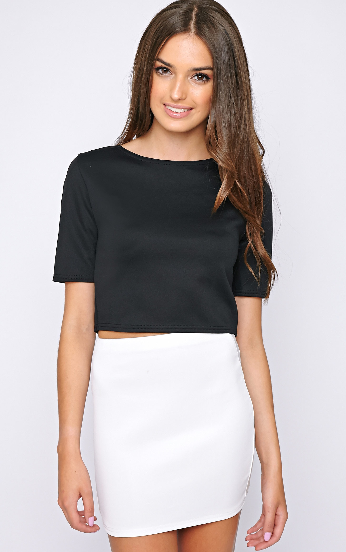 Eliza Black Scuba Crop Top 1