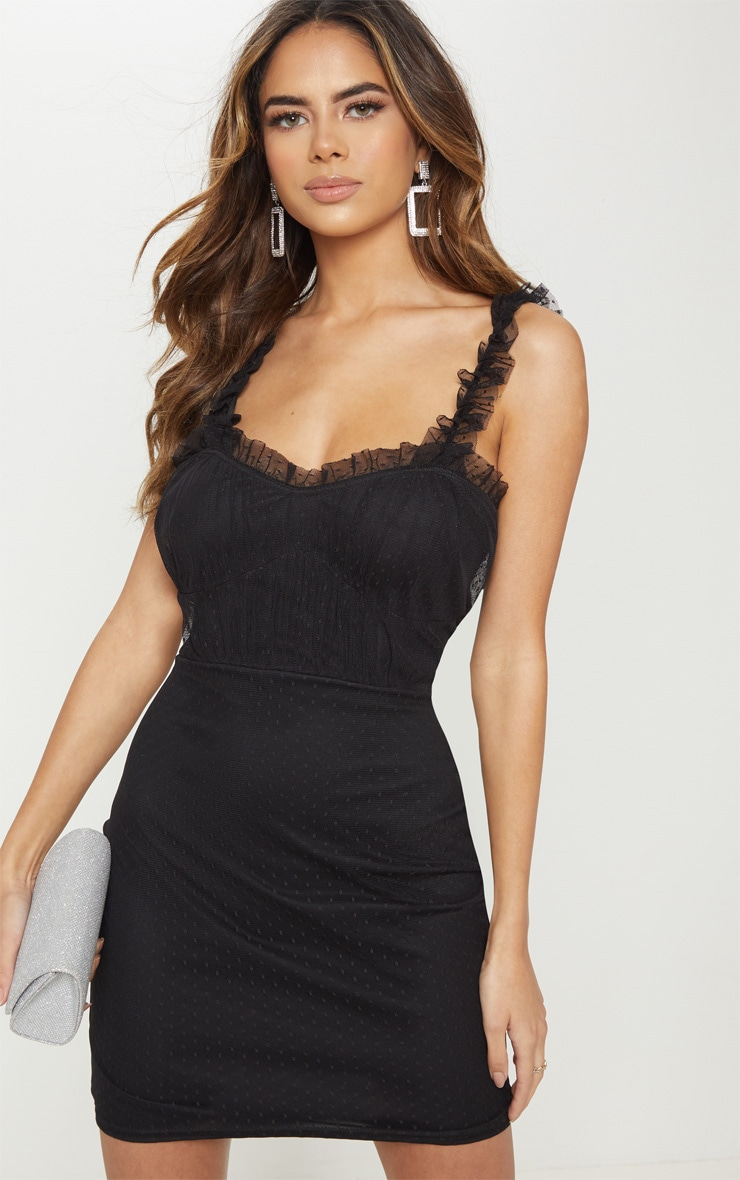e2e8b8e06a Black Dobby Mesh Frill Bodycon Dress image 1