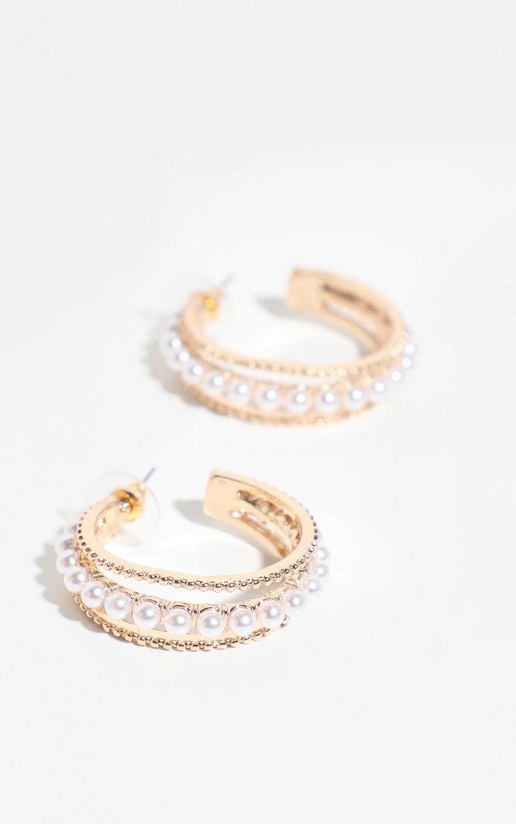 Gold Pearl Detail Small Hoop Earrings 1
