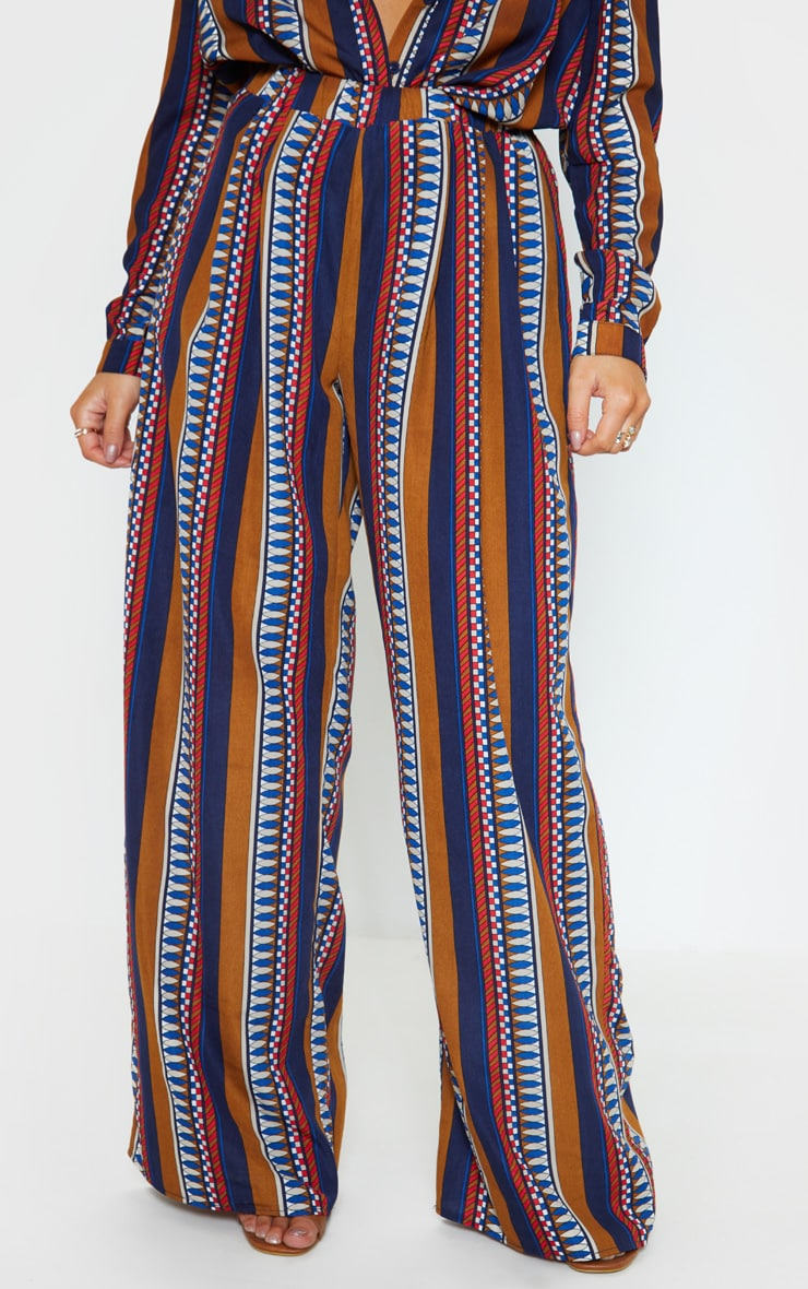 Brown Geo Stripe Wide Leg Beach Pant 2