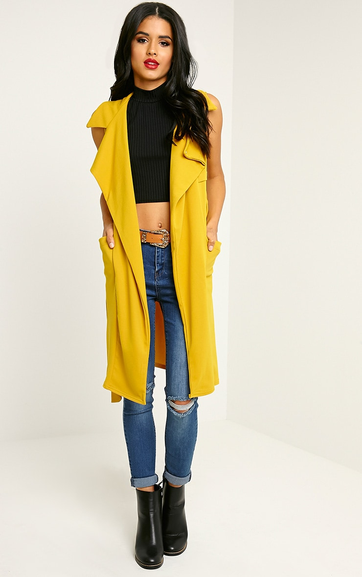 Tegan Mustard Sleeveless Duster Jacket 4