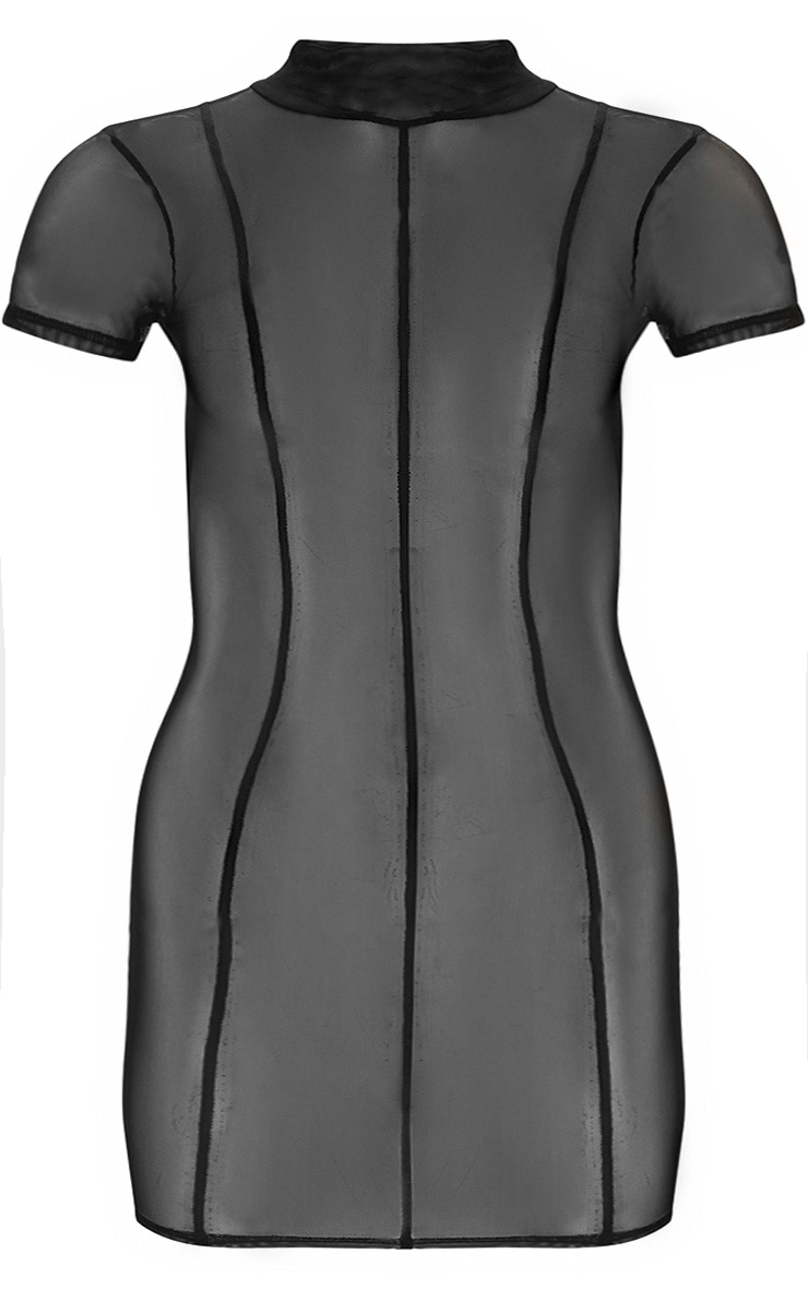 Plus Black Second Skin Sheer Mesh Bodycon Dress 3