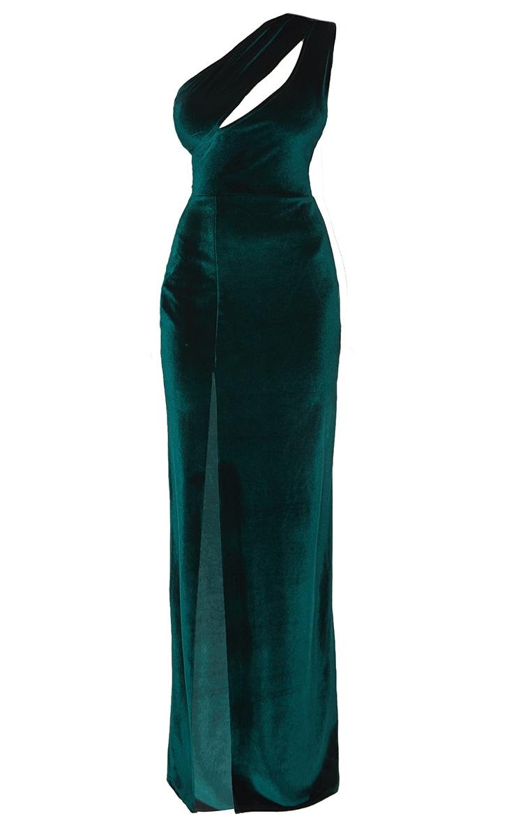 Emerald Green Velvet One Shoulder Split Leg Maxi Dress 3