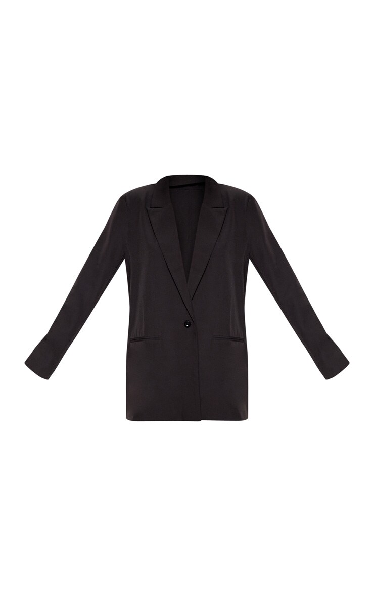 Black Oversized Dad Woven Blazer    3