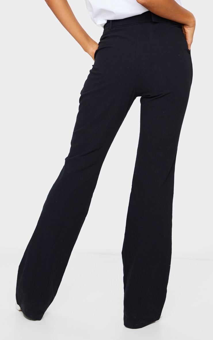 Black Textured Belted Straight Leg Trousers 3