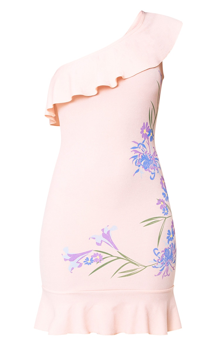 Nude Printed One Shoulder Bodycon Dress  3