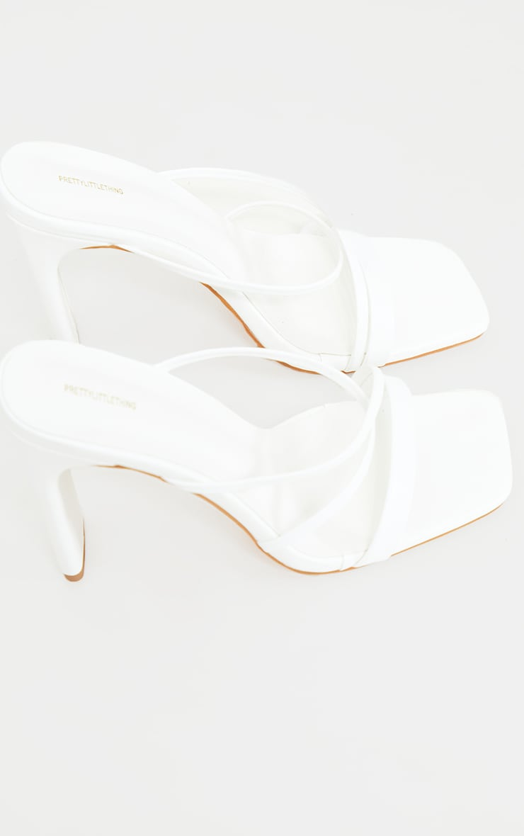 White Wide Fit Asymmetric Strappy High Flat Block Heel Mules 4