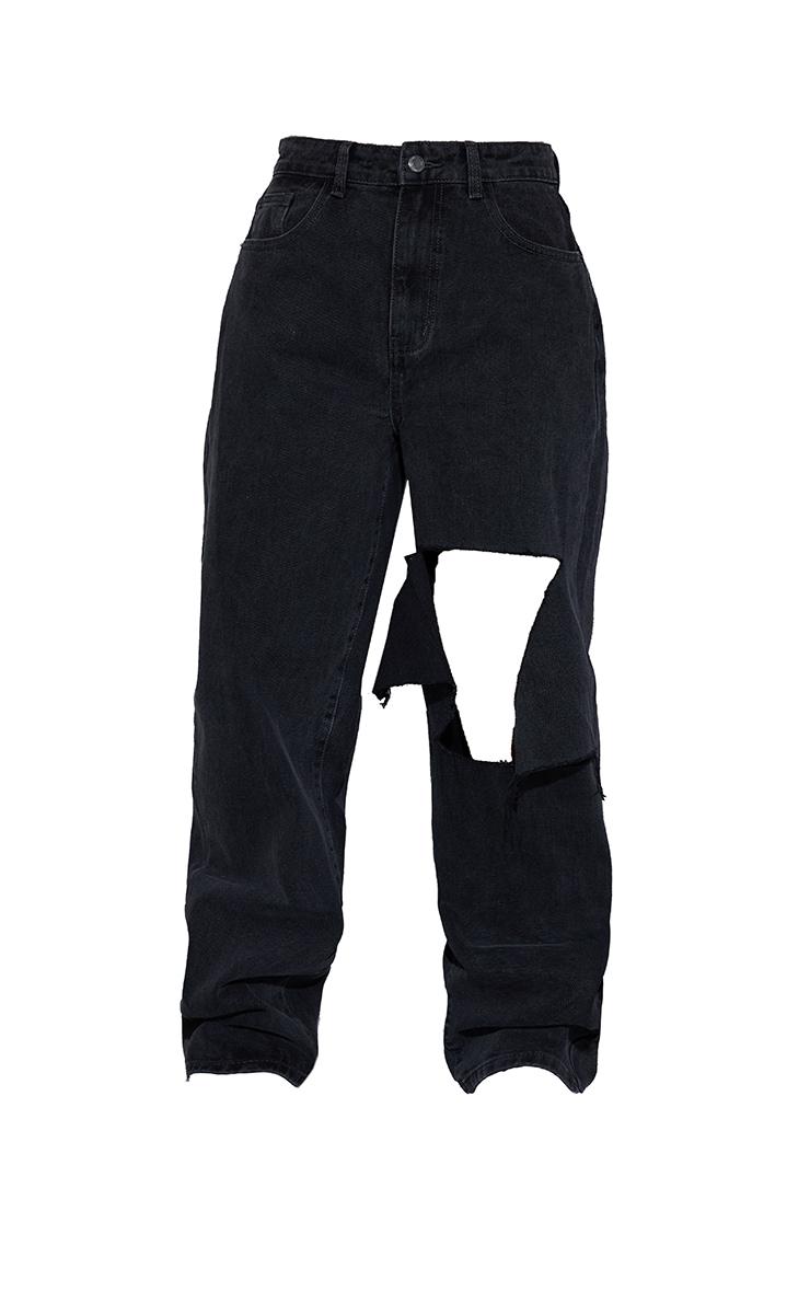 Washed Black Extreme Knee Rip Boyfriend Jeans 5