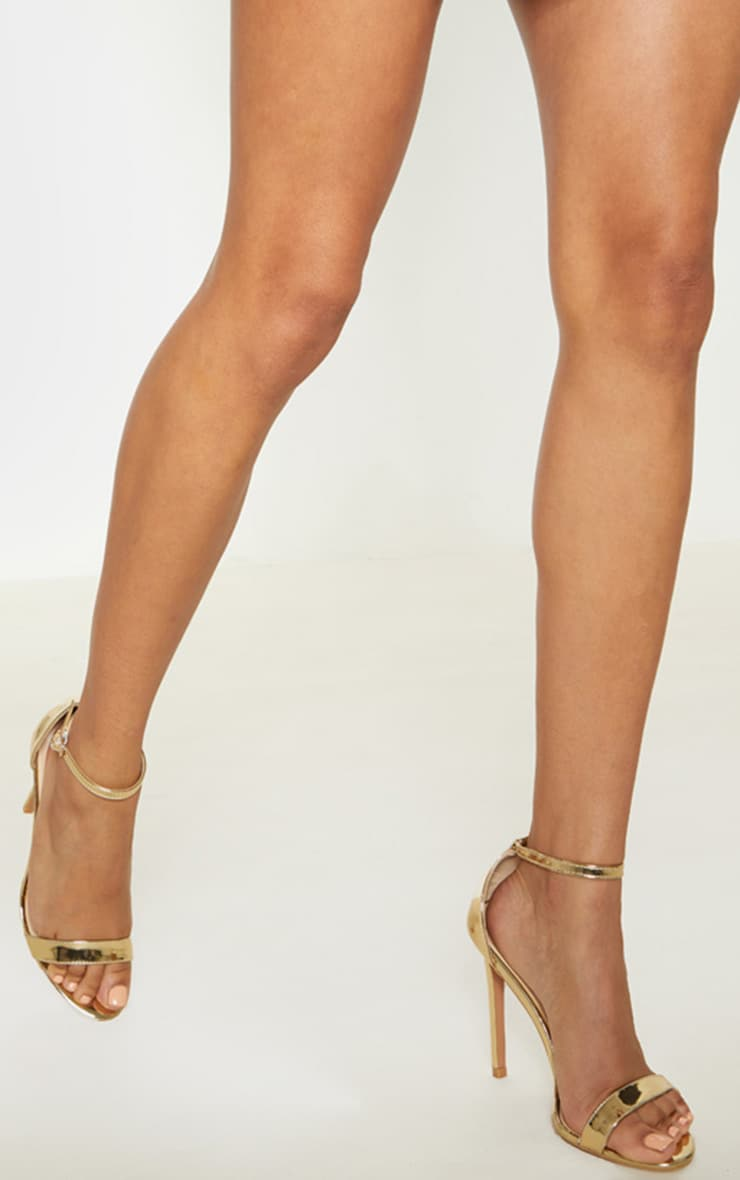 Shiny Gold Clover Strap Heeled Sandal  3