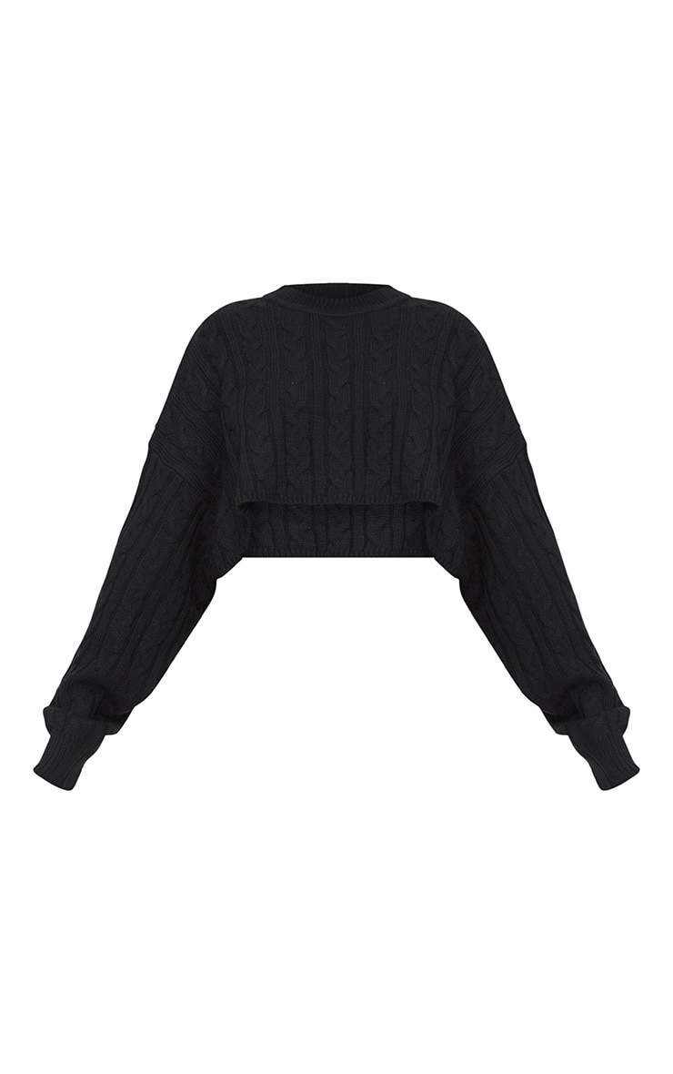 Black Over Sized Crop Knit Sweater 3