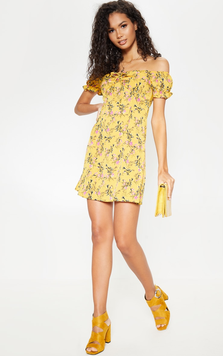 Mustard Floral Tie Bardot Shift Dress 3