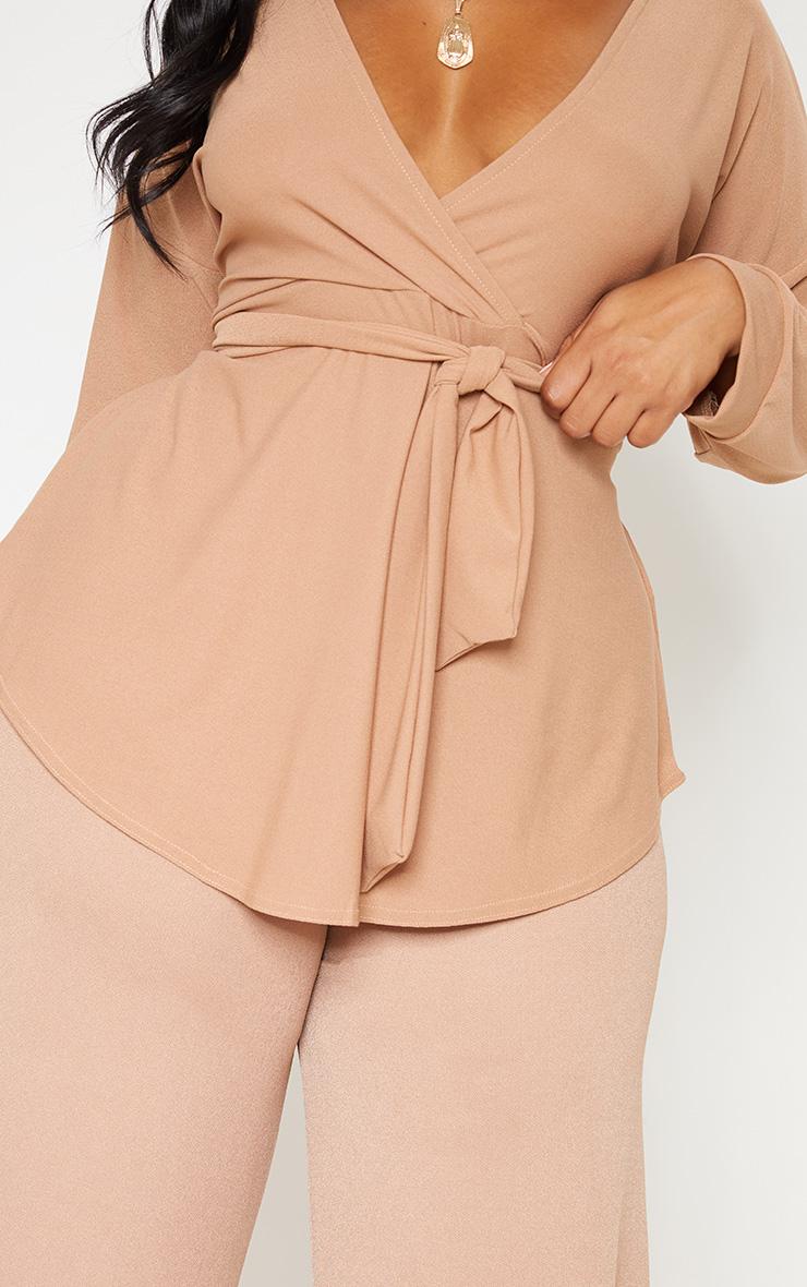 Plus Camel Tie Waist Blouse 5