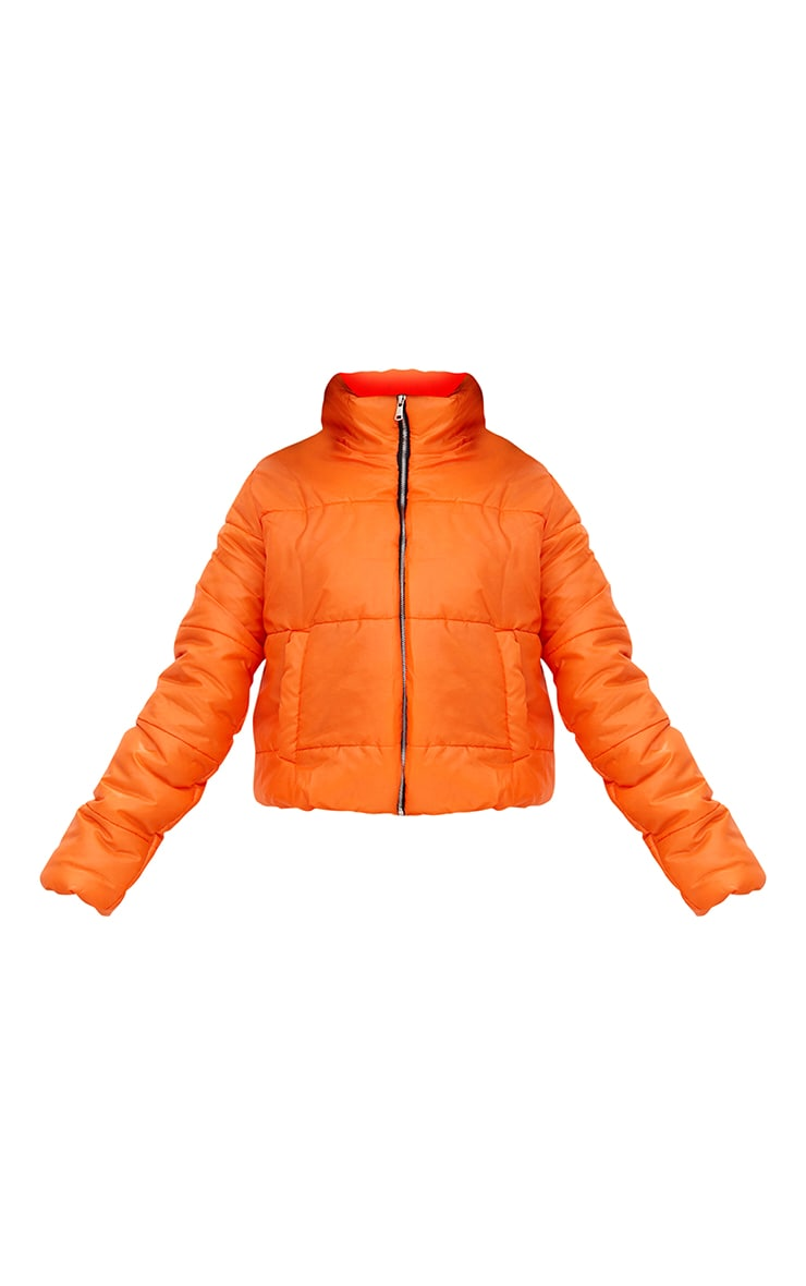 Orange High Shine Cropped Puffer Jacket ...
