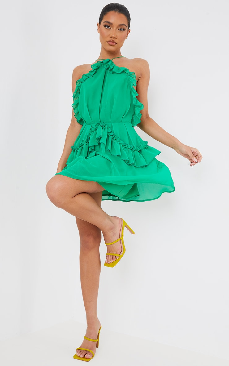Bright Green Printed Frill Detail Strappy Shift Dress 1
