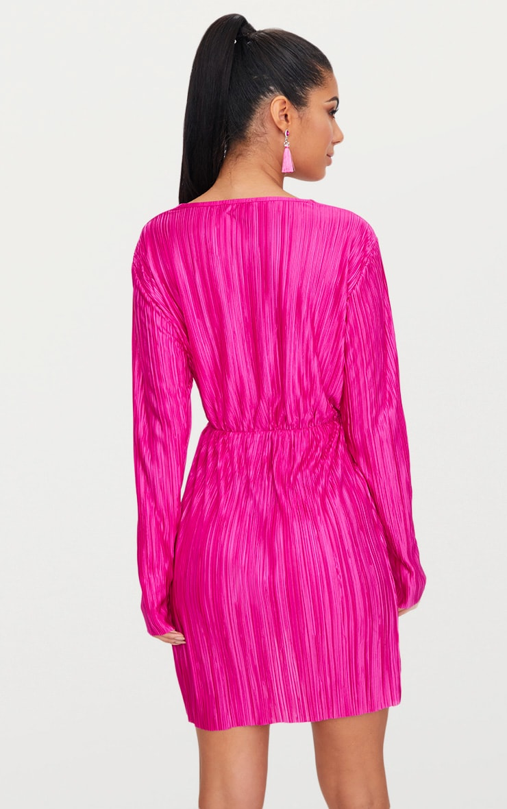 Hot Pink Long Sleeved Plunge Pleated Wrap Dress  2
