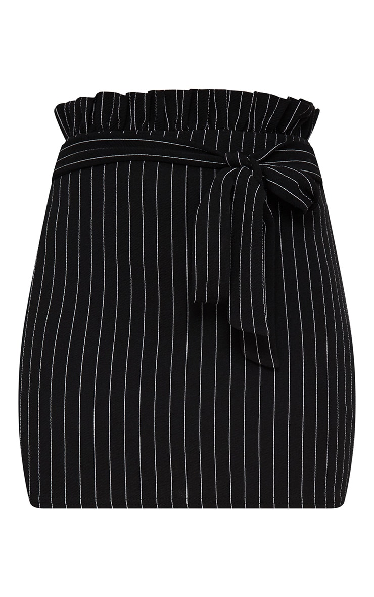 Black Pinstripe Paperbag Mini Skirt  3