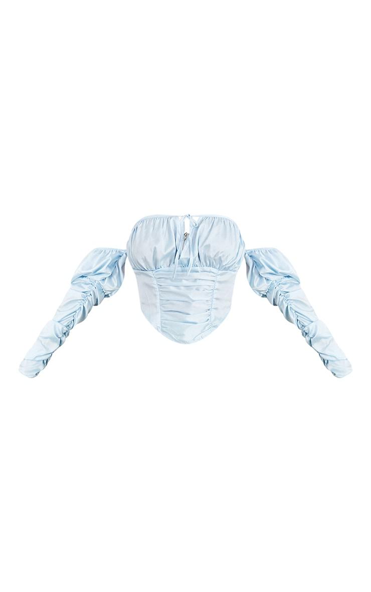 Blue Satin Bardot Ruched Detail Long Sleeve Dipped Hem Crop Top 5