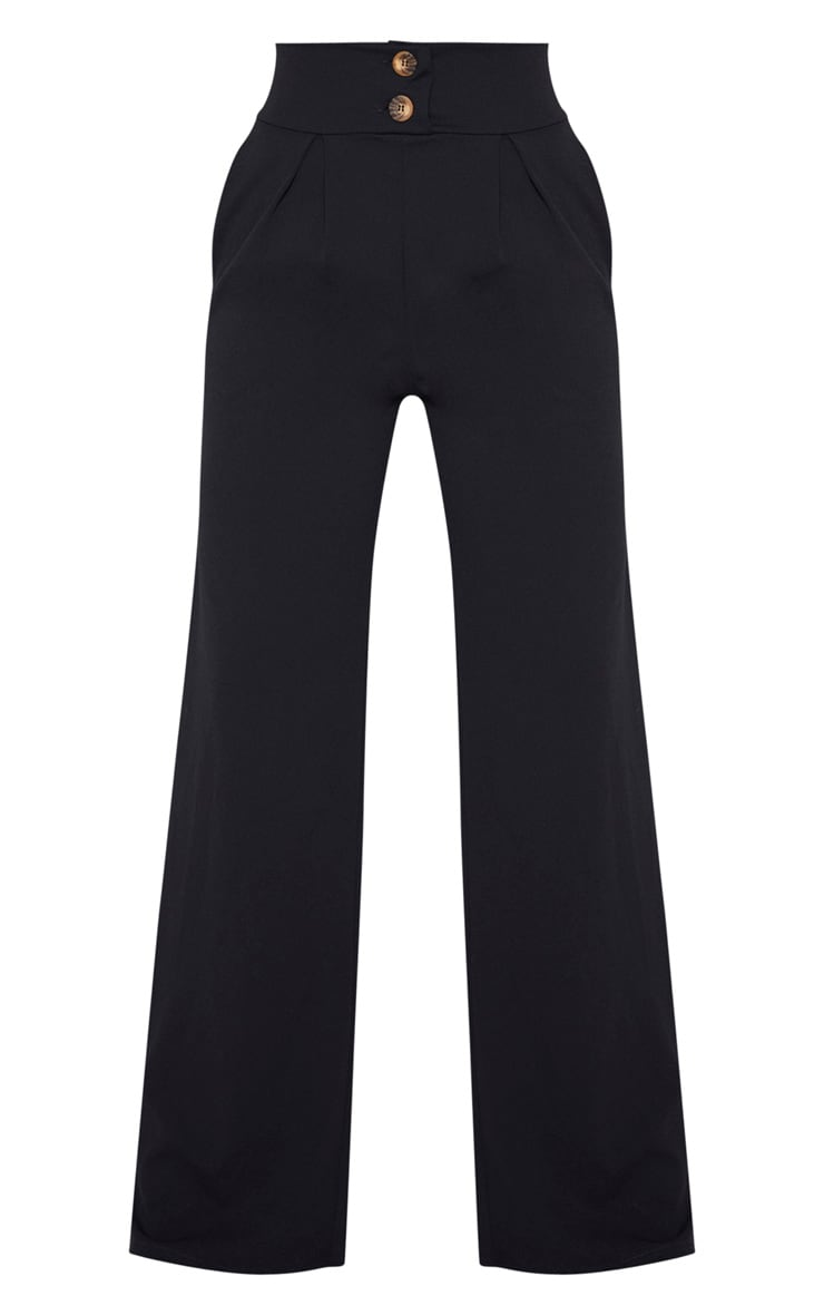 Tall Black Button Detail Crepe Wide Leg Pants 3