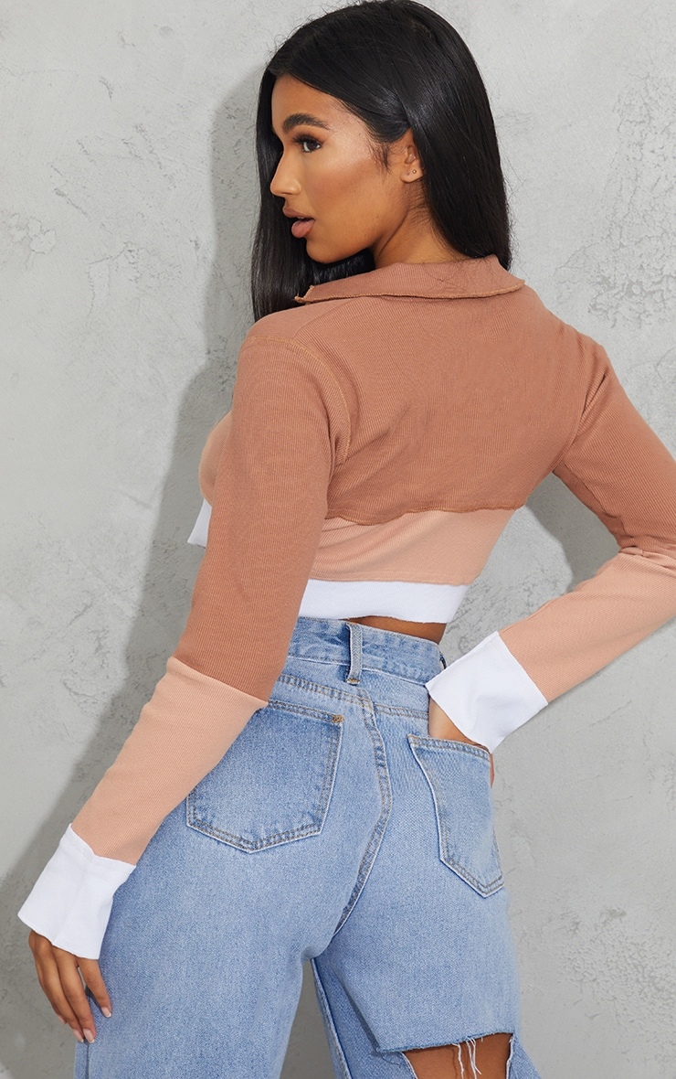 Chocolate Rib Contrast Panel Lace Up Long Sleeve Crop Top 2