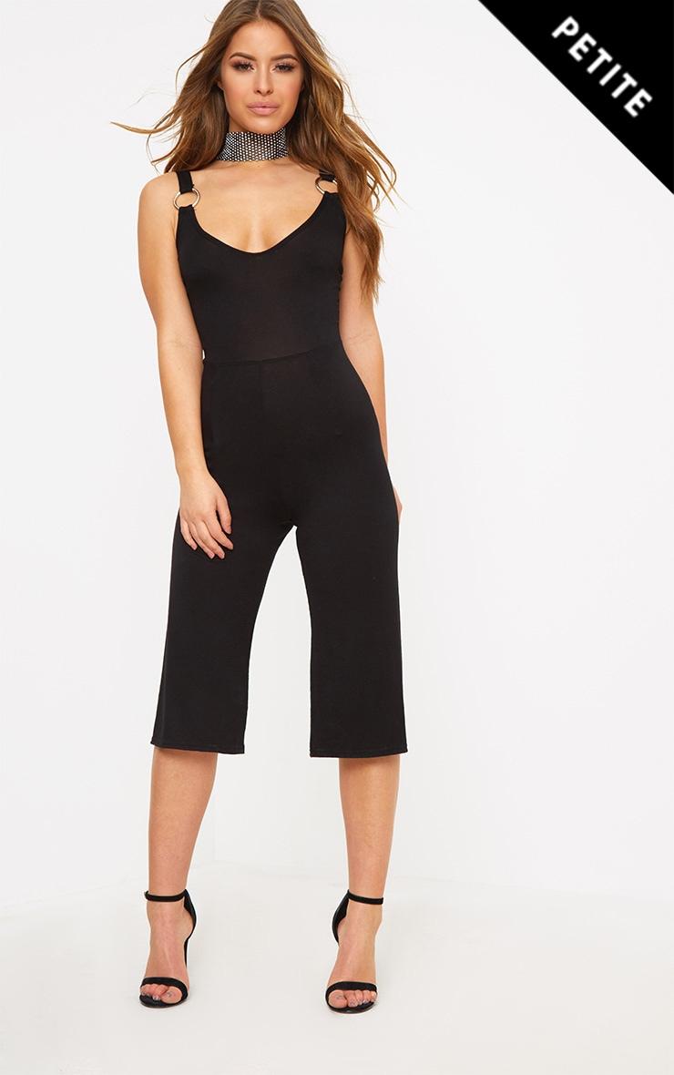 Petite Black O-Ring Culotte Jumpsuit 1