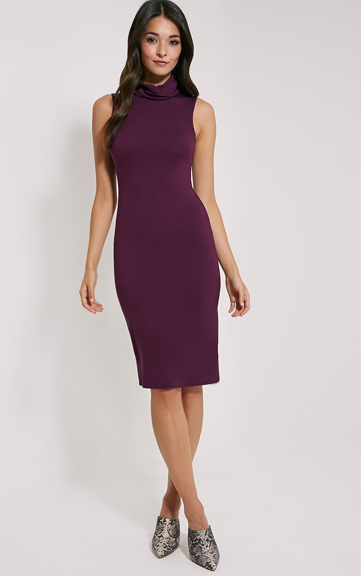 Iness Plum Sleeveless Roll Neck Midi Dress 1