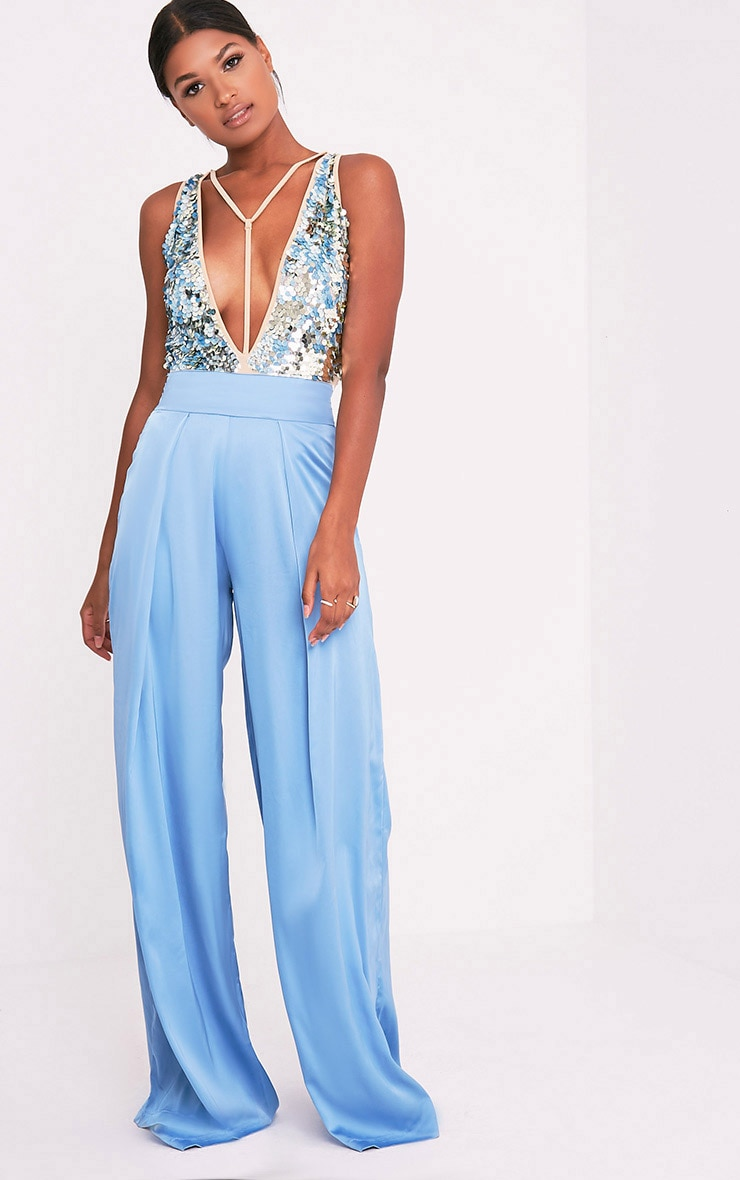 Shyla Blue Sequin Plunge Slinky Thong Bodysuit 5