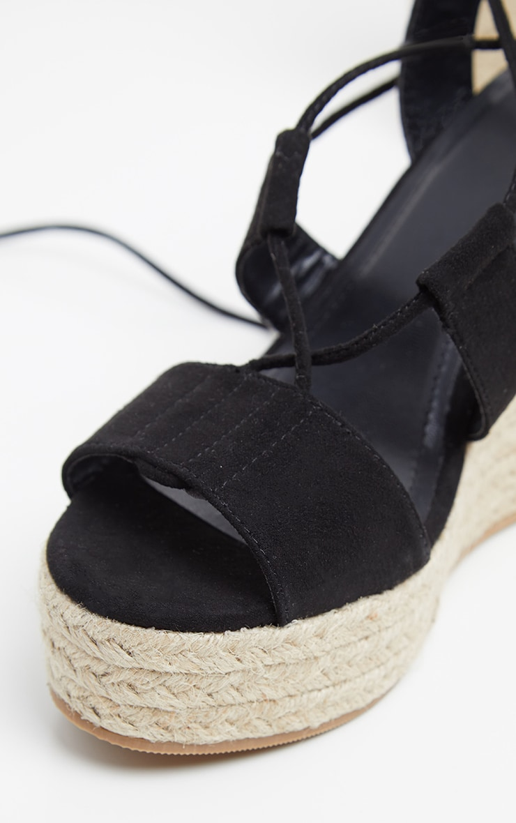 a45ccda106e Black Ghillie Lace Up Espadrille Wedge