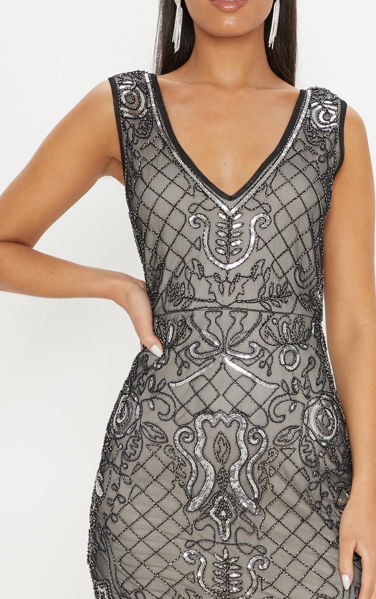 Black Sequin Nude Embellished Plunge Bodycon Dress 5
