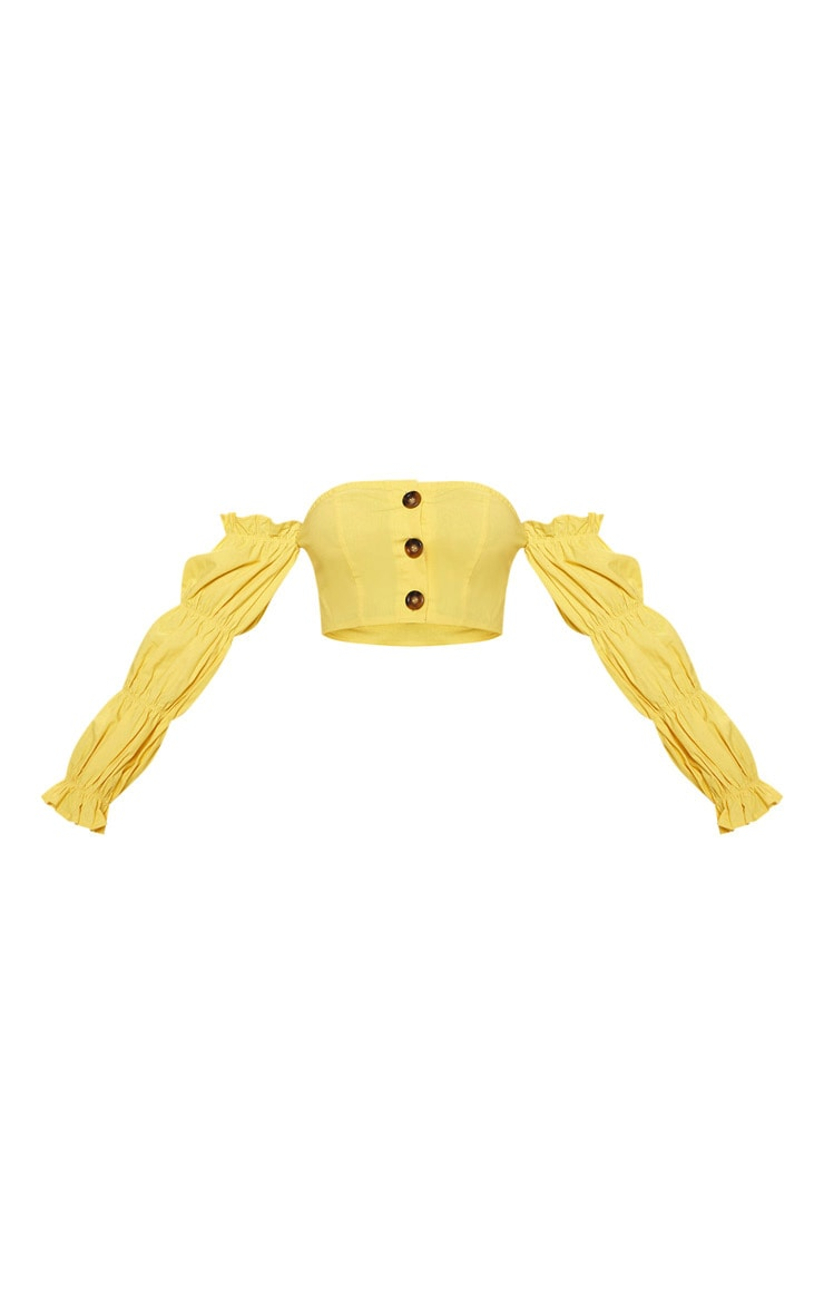 Yellow Cotton Button Detail Puff Sleeve Shirt 3