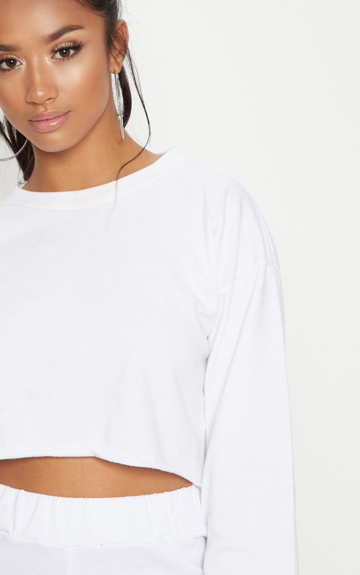 Petite White Raw Edge Cropped Sweater image 5 9ce78c08d