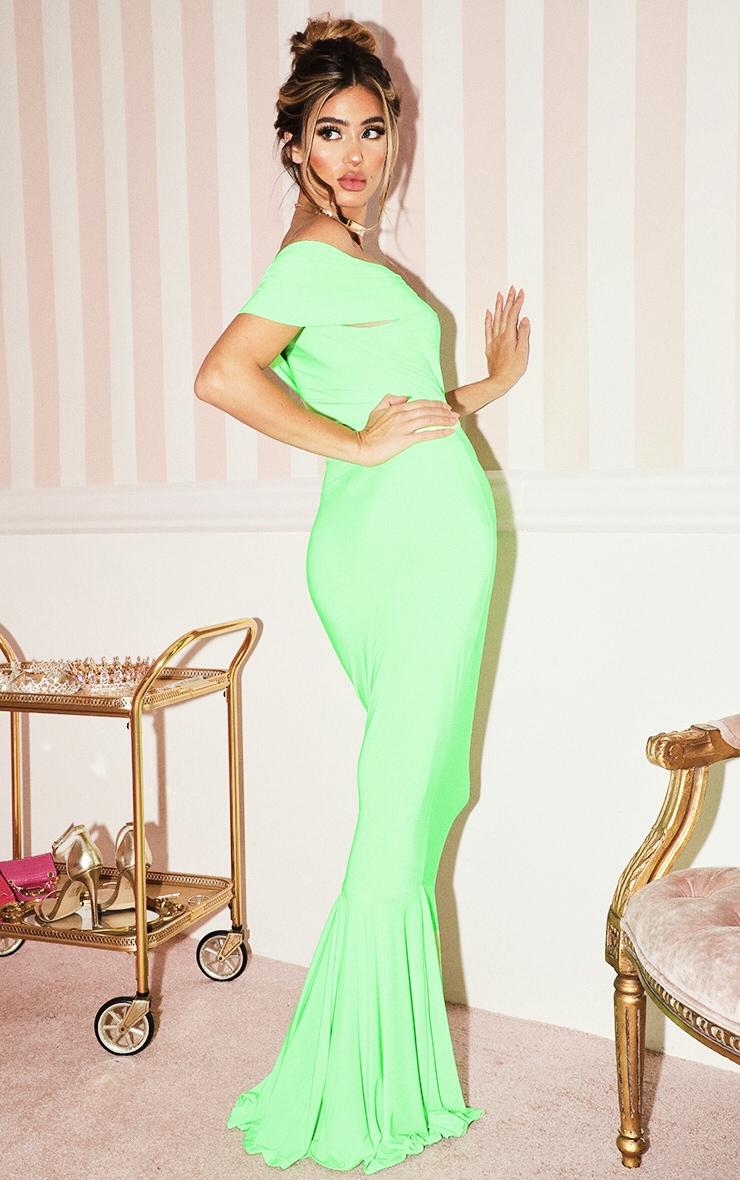 Neon Lime Bardot Maxi Dress 2