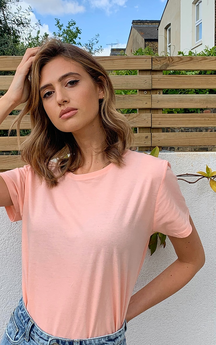 Peach Short Sleeve Fitted T Shirt 4